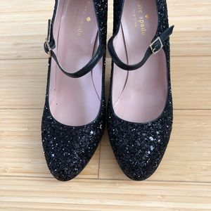 Kate Spade Angelique Mary Janes, Black glitter
